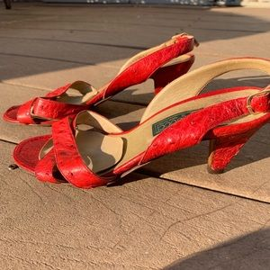 Gucci Shoes - Vintage Gucci Ostrich Leather Sandal Heel